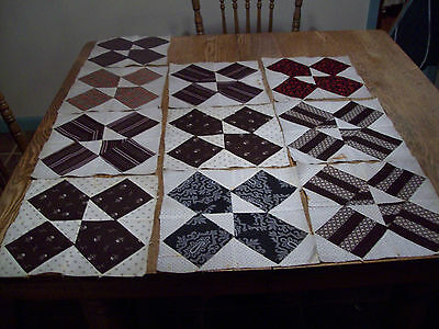 "Vintage Antique 10 Early Quilt Blocks Hans Stitch Cotton 10 1/4""X10 1/4""  1800""s"