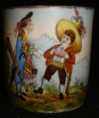 Beautiful Antique Hand Painted Figural Child's Cup/Can