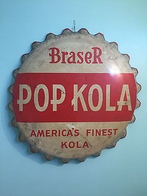Very Rare Original Braser Pop Kola General Store Soda Adverting Metal Sign
