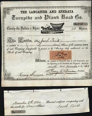 Lancaster And Ephrata Turnpike And Plank Road Co, 1864 With Affixed Rev. Stamp