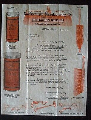 1921 Northwestern Manufacturing Co. Letterhead - Automobile Accessories Brushes