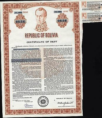Republic Of Bolivia, Certificate Of Debt, 1968 With Two Remaining Coupons