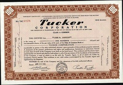 Tucker (Automobile) Corporation, 1948, Issued, Uncancelled Stock Certificate