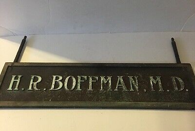 """Large Antique Double Sided  Bronze Dr. Doctor Sign -H.R Boffman M.D 22""""X6"""""""
