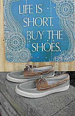 SPERRY TOP-SIDER Boat Shoe men's Size 13 medium Green Canvas Brown Leather NICE