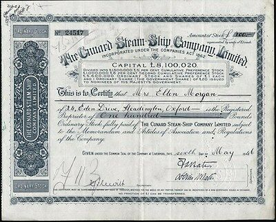 Cunard Steam Ship Company, Limited, 1946, Liverpool, England Stock Certificate