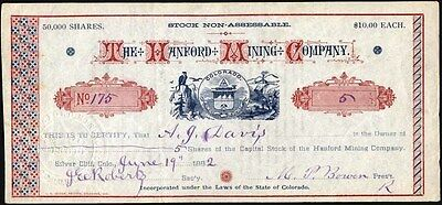 Hanford Mining Co., 1882, Silver Cliff, Co, Uncancelled Stock Certificate
