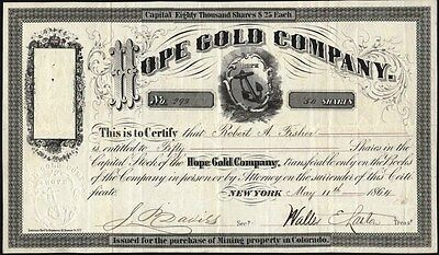 Hope Gold Company, 1864, Central City, Colorado Territory Stock Certificate