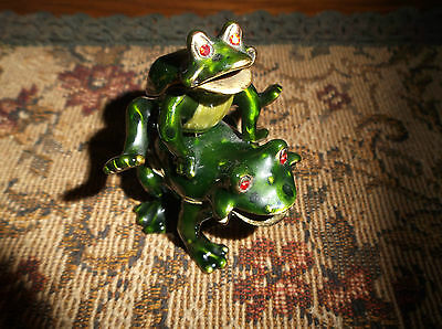 OLDER Bejeweled LEAP Frog Trinket Box - Enamel FREE SHIP