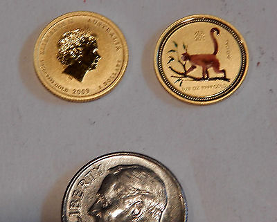 2004 .9999 GOLD 1/20 oz YEAR of the MONKEY PERTH MINT Colorized $5 COIN SCARCE