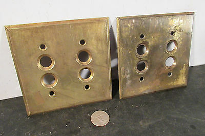 Pair (2) antique vtg stamped brass PERKINS double push button cover plates