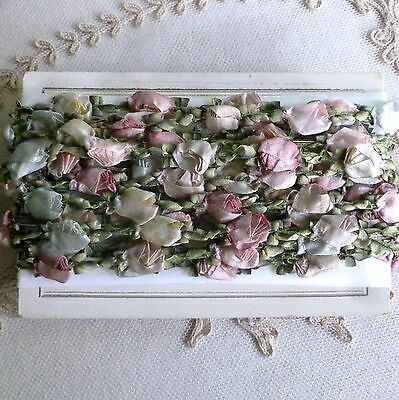 Antique French Silk Rosebuds Rococo Trim