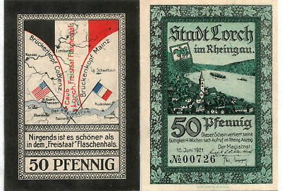 RARE HISOTRIC RHINELAND MONEY w MAP OF WW1 U.S./FRENCH OCCUPATION ZONES! $18 Ea.