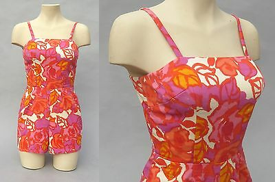Vtg 50s 60s ROMPER SWIMSUIT Bathing Suit PLAYSUIT Shorts Floral Hawaiian Pink M