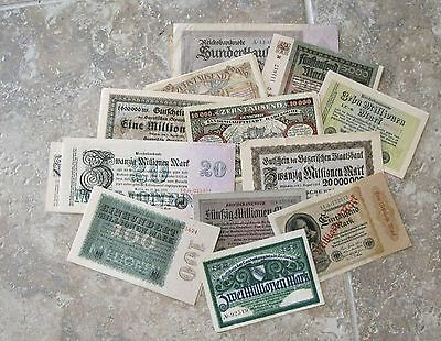 Group of 50 German Inflation notes from around 1923 circ to UNC