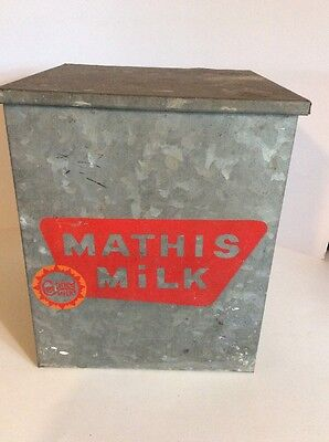 Vintage Mathis Milk Porch Delivery Metal Insulated Box Certified Aluminum Bottle