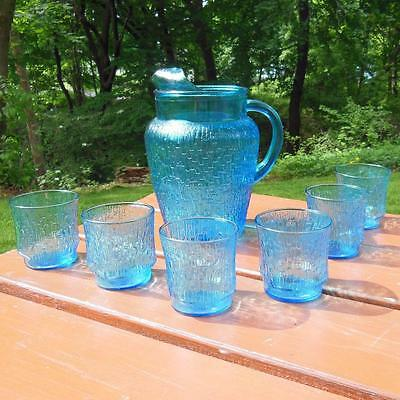 Anchor Hocking (Laser Blue) 78oz (Pagoda) Pitcher and (6) On the Rocks Glasses