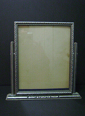 VINTAGE ANTIQUE SWIVEL PICTURE FRAME 8x10 PAINTED SILVER CARVED WOOD WOODEN