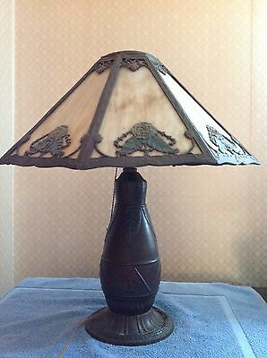 antique slag glass lamp Rainaud with makers mark