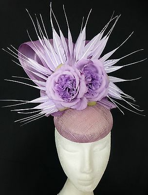 Mauve Purple Lilac Flower Feathers Bow Loops Hat Fascinator Races Wedding