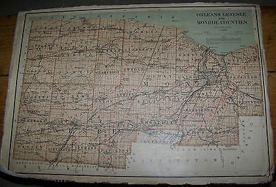 1895 Antique Map Monroe Genesee Wyoming County Ny Rochester Batavia Linen Backed
