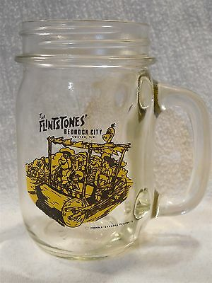 Flintstones Bedrock City Custer SD Mason Jar Shaped Souvenir Mug w/Characters