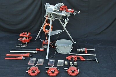 "Ridgid Pipe Threader 300 1/8 - 4"" Threading Machine w 4PJ & 2 Universal Die Head"