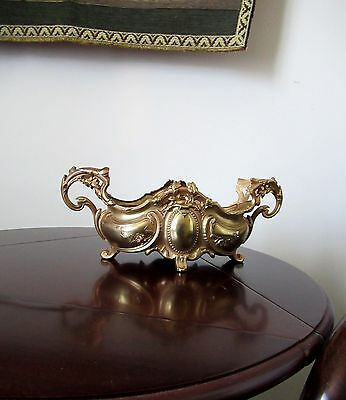 Antique French Depose Art Nouveau Ornate Gilded Metal Brass Planter Jardiniere