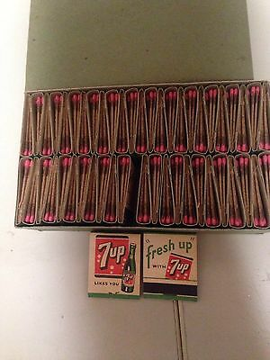 Vintage 7up Matches Soda Pop Advertising 50 Match Books with Box