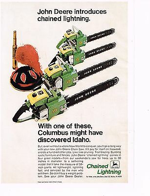 """Vintage 1970 JOHN DEERE """"CHAINED LIGHTNING"""" CHAINSAW Original COLOR Print Ad"""