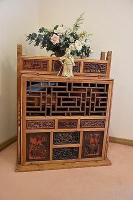 Chinese Dowry and Wedding Carrying Cabinet with Antique Carved Panels