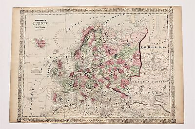 1864 Europe Map Russia Sweden France North Sea Railroad Routes LARGE ORIGINAL
