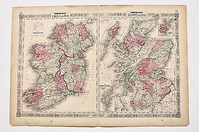 1864 Ireland Scotland Map Ulster Munster Orkney Railroad Routes LARGE ORIGINAL