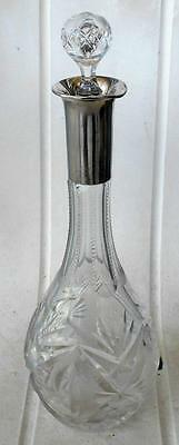 Cut Crystal Decanter With 800 German Silver Neck - Hallmarked