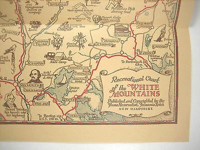 Pictoral / Pictorial Cartoon Map White Mountains NH. RECREATIONAL CHART 1930's