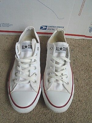 Converse All Star white canvas low top casual sneakers sz men 8 , women 10