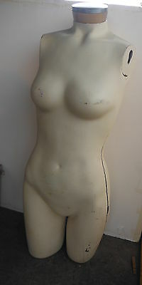 "Vintage Female MANNEQUIN Dress Form 34"" Tall - 3/4 body"