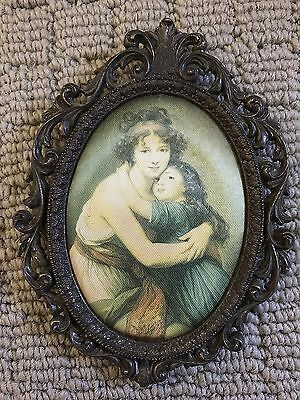 VINTAGE BRASS FRAME SILK PICTURE - Mother And Child