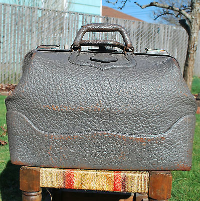 Vintage Large Gray Leather Travel Bag Steampunk Luggage