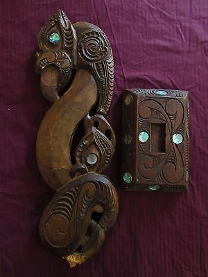 Vintage Striking, Large, Maori Mythic Wood Carving With Intricate Carved Stand