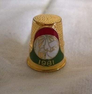 Vernon Gold Tone Metal 1981 Thimble Shield In A Bell Design W A Church & People