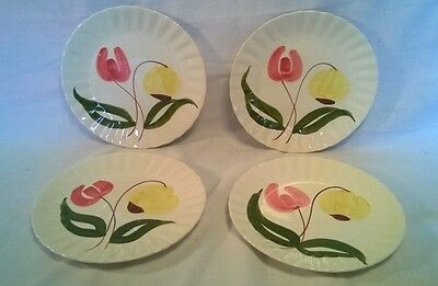 Vintage Set (4) Blue Ridge Southern Potteries Pink Yellow Flowers Dinner Plates