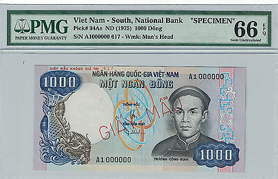 VIETNAM SOUTH - SPECIMEN 1000 DONG 1975 PICK# 34As PMG-66 EPQ ( #688 )