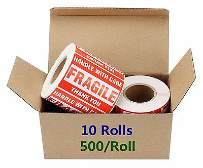 10 Rolls 2 x 3 Fragile Stickers Handle with Care Self Adhensive Shipping Labels