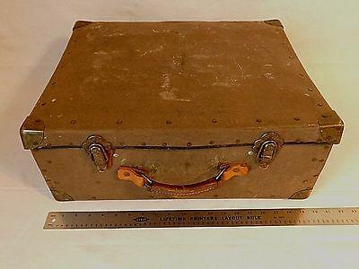 Vintage Antique Hobo Train Steamer Trunk Luggage Hard Travel Case Suitcase Decor