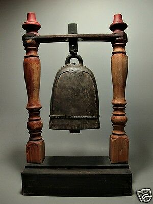 Antique Grand Handbell Karen Hill Tribe Elephant (Female) Bronze Bell Wood Stand