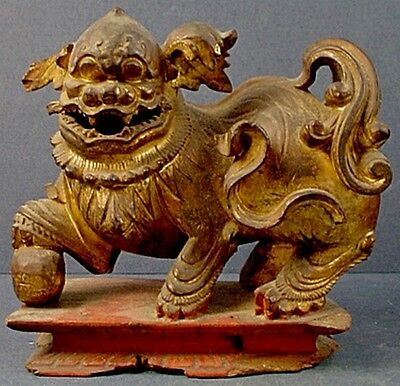 18th CENTURY ANTIQUE CHINESE HAND CARVED & GILDED WOOD FOO DOG SCULPTURE