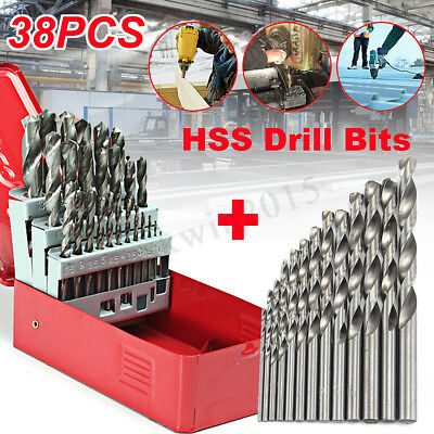 38Pcs 1mm-13mm Twist HSS High Speed Cobalt Steel Kit Metric Drill Bit Tool Set