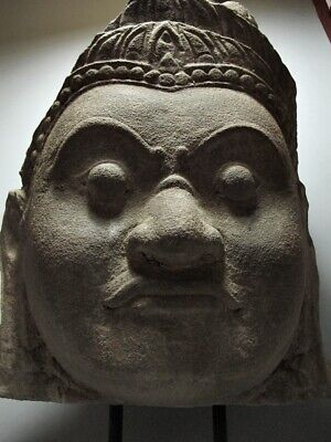 Khmer Sculpture Sandstone Fragment Guardian Face Figure Bayon Style, Stone Relic