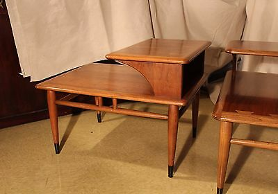 Lane Acclaim Mid-Century Two Tier Lamp Tables (matched pair)